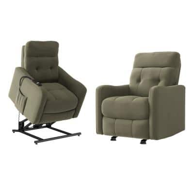 Tufted Manual Rocker Recliner and Power Lift Recliner Chairs in Sage Green Velour (Set of 2)