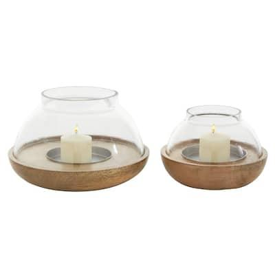 Brown Mango Wood Natural Candle Holder (Set of 2)