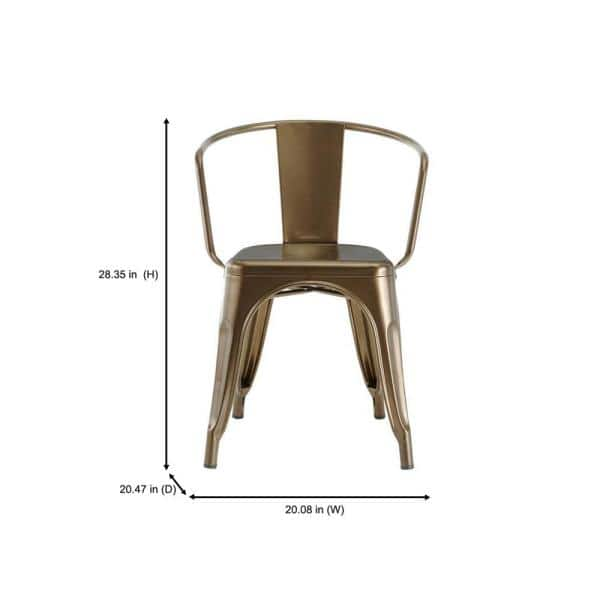 Stylewell Stylewell Bronze Metal Dining Chair Set Of 2 20 28 In W X 28 35 95 In H Cm805 18 Brz The Home Depot