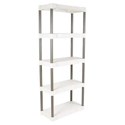 White 5-Shelf Plastic Shelving Unit