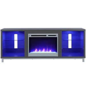 Cleavland 64.76 in. Freestanding Electric Fireplace TV Stand in Graphite Gray