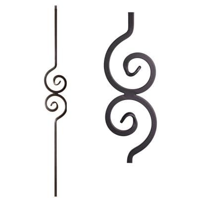 Versatile 44 in. x 0.5 in. Satin Black Double Spiral Solid Wrought Iron Baluster