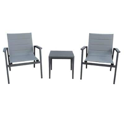 Caliar Dark Grey 3-Piece Aluminum Square Outdoor Bistro Set