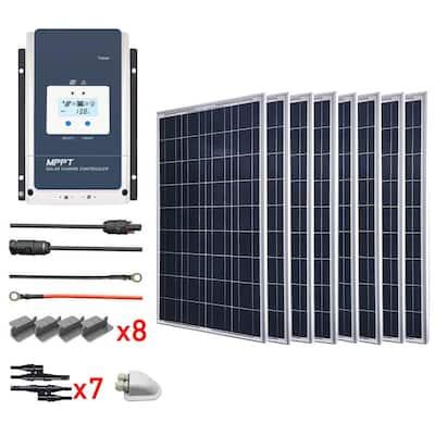 800-Watt Polycrystalline OffGrid Solar Power Kit with 8 x 100-Watt Solar Panel, 60 Amp MPPT Charge Controller