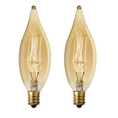 40-Watt CA10 Dimmable Filament Amber Glass E12 Candelabra Incandescent Vintage Edison Light Bulb, Warm White (2-Pack)