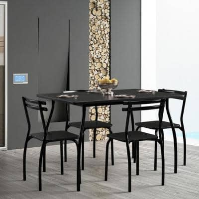 Modern 5-Piece Wood Black Armless Chair
