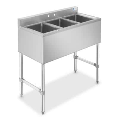 38.5 in. Freestanding Stainless-Steel 3-Compartment Commercial Bar Sink