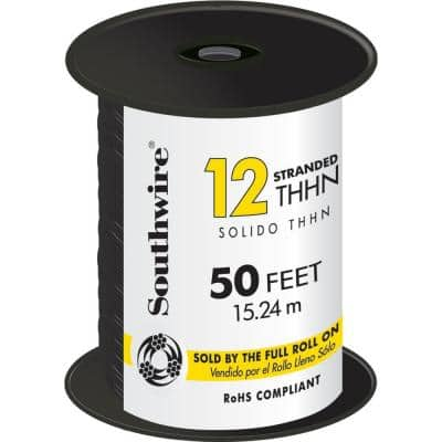 50 ft. 12 Black Stranded CU THHN Wire