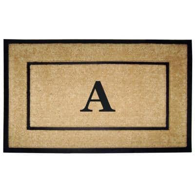 DirtBuster Single Picture Frame Black 30 in. x 48 in. Coir with Rubber Border Monogrammed A Door Mat