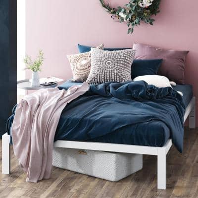 Mia White Queen Metal Platform Bed Frame Without Headboard