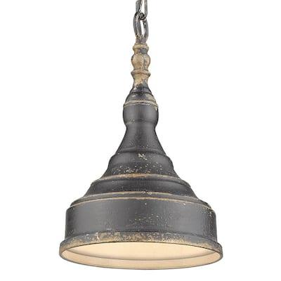 Keating 1-Light Antique Black Iron Pendant