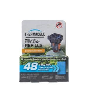Backpacker Mosquito Repeller Mat-Only Refill 48-Hour Pack (12-Repellent Mats)