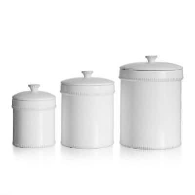 Bianca Dash 3-Piece White Ceramic Canister Set with Lid