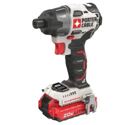 20-Volt MAX Lithium-Ion Brushless Cordless 1/4 in. Impact Driver with 2 Batteries 1.5 Ah and Charger
