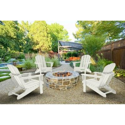 DECO White Folding Poly Outdoor Adirondack Chair (Set of 4)