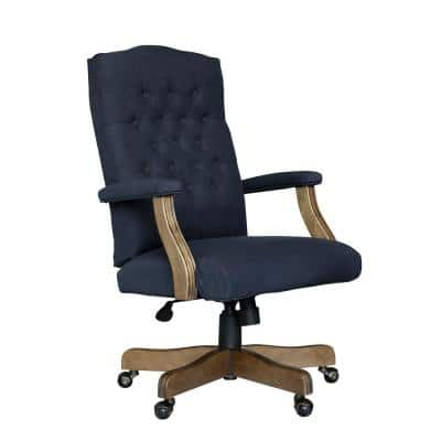 BOSS Office High Back Navy Linen Fabric Driftwood Finish Button Tufted Styling Padded Arms