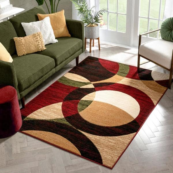 Well Woven Dulcet Bingo Red 8 Ft X 10 Ft Modern Geometric Area Rug 19407 The Home Depot