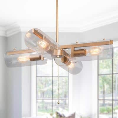 Modern Farmhouse Chandelier Island Lind 4-Light Gold Island Cylinder Chandelier Pendant Light With Seeded Clear Shade