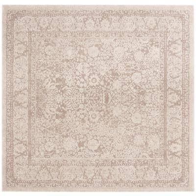 Reflection Beige/Cream 7 ft. x 7 ft. Square Distressed Border Area Rug