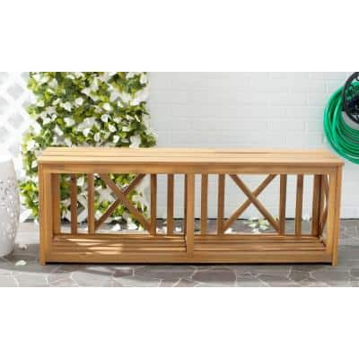 Branco 51.2 in. 2-Person Natural Brown Acacia Wood Outdoor Bench