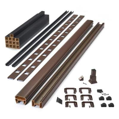 Trex 8 ft. x 42 in. Transcend Vintage Lantern Composite Rail Kit in with Black Square Balusters-Stair