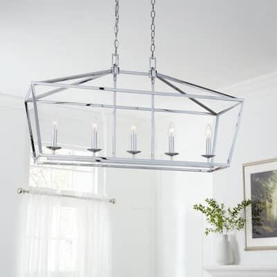 Weyburn 5-Light Polished Chrome Caged Island Chandelier