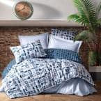 Blue Creation Cotton Duvet Cover Set Queen Size Duvet Cover 1-Duvet Cover 1-Fitted Sheet and 2-Pillowcases Iron Safe