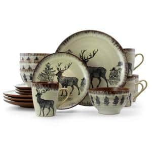 Majestic Elk 16-Piece Seasonal Taupe Stoneware Dinnerware Set (Service for 4)