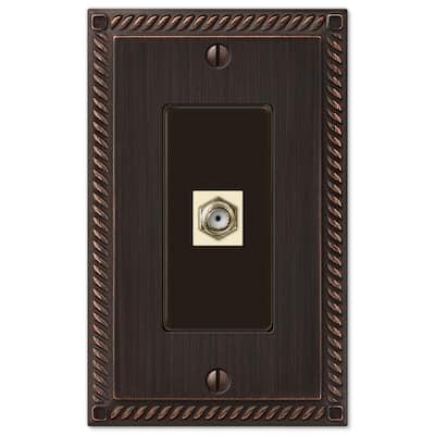 Georgian 1 Gang Coax Metal Wall Plate - Aged Bronze