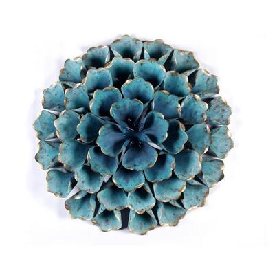 23.5 in. Aqua Blue Flower Metal Wall Art