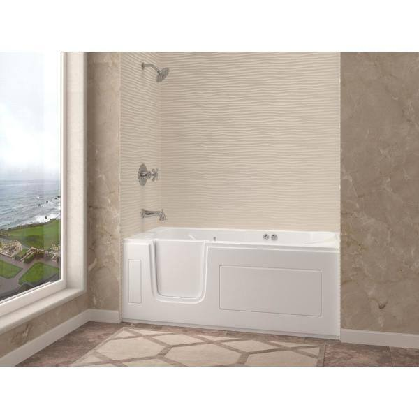 Universal Tubs Step In 59 6 In Walk In Whirlpool Bathtub In White With 1 28 Gpf Single Flush Toilet Hdsi3060lwh 63 The Home Depot