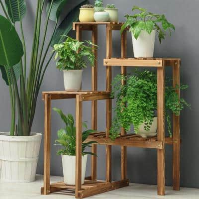 23 in. W x 22 in. D x 36 in. H Brown Wooden 5-Tier Flower Plant Stand Indoor Outdoor Garden