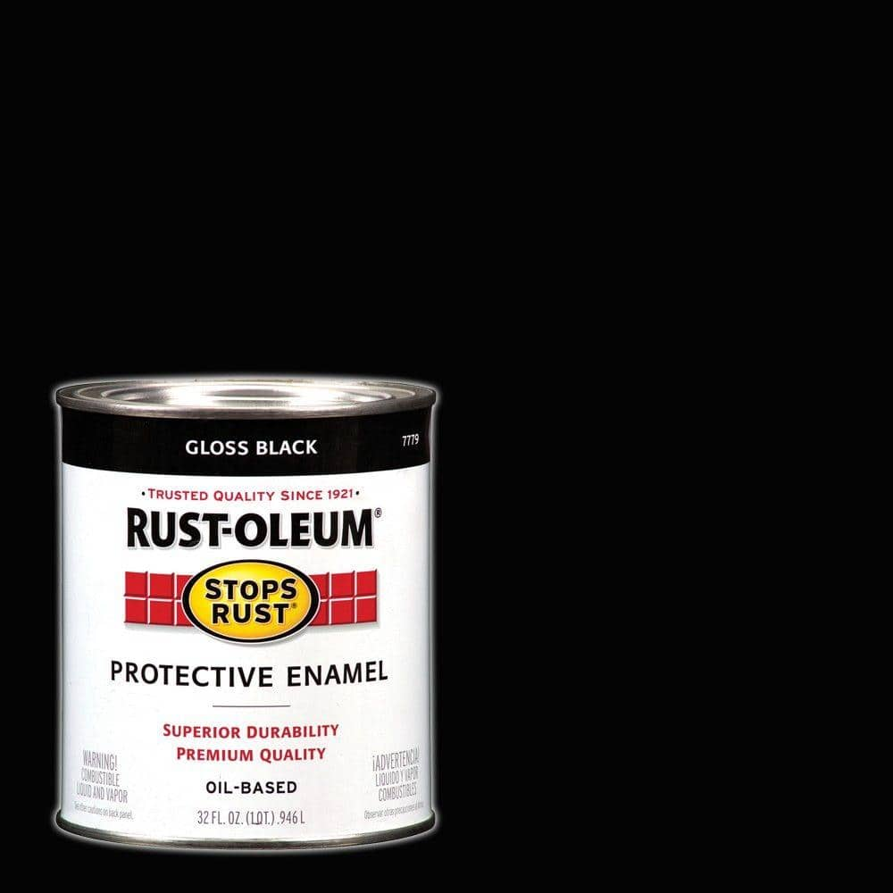 Rust Oleum Stops Rust 1 Qt Protective Enamel Gloss Black Interior Exterior Paint 2 Pack 7779502 The Home Depot