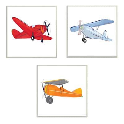 "12 in. x 12 in. ""Triple Colorful Airplanes Drawing"" by Sweet Pea Studio Printed Wood Wall Art"