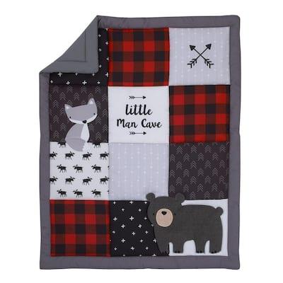 Little Man Cave Check & Arrows Rustic 3-Piece Grey Nursery Crib Bedding Set (Comforter, Fitted Crib Sheet & Crib Skirt)