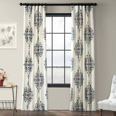 Kerala Blue Floral Rod Pocket Room Darkening Curtain - 50 in. W x 108 in. L