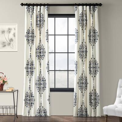 Kerala Blue Floral Rod Pocket Room Darkening Curtain - 50 in. W x 96 in. L