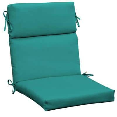 Canvas Texture 21 in. x 20 in. High Back Outdoor Dining Chair Cushion in Surf