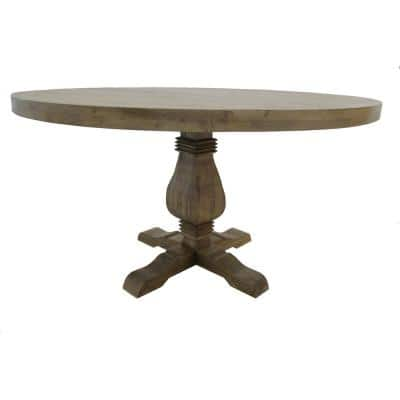 54 in. Wide Natural Wood Farmhouse style Round Dining Table