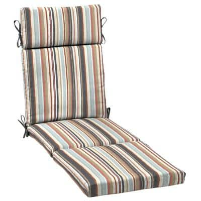 21 in. x 29.5 in. Russet Stripe Outdoor Chaise Lounge Cushion