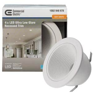 Ultra Low Glare 4 in. 3000K Soft White Integrated LED Recessed Trim Downlight Deep White Baffle Insert 625 Lumens