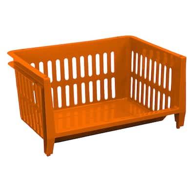 19 in. W x 14 in. D x 10 in. H Jumbo Storage Stacking Basket in Fiesta Orange