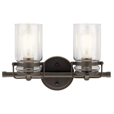 Brinley 2-Light Olde Bronze Vanity Light with Clear Glass