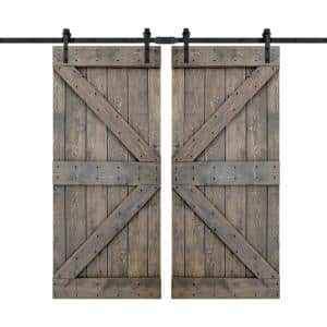 K Series 72 in. x 84 in. Smoky Gray DIY Finished Knotty Pine Wood Double Sliding Barn Door with Hardware Kit