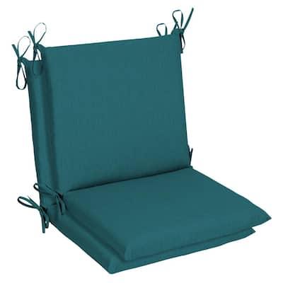 Belcourt 19 x 36 Sunbrella Spectrum Peacock Mid Back Outdoor Dining Chair Cushion (2-Pack)