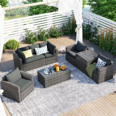 7-Piece Wicker Patio Conversation Set with a Storage Box and Gray Cushions