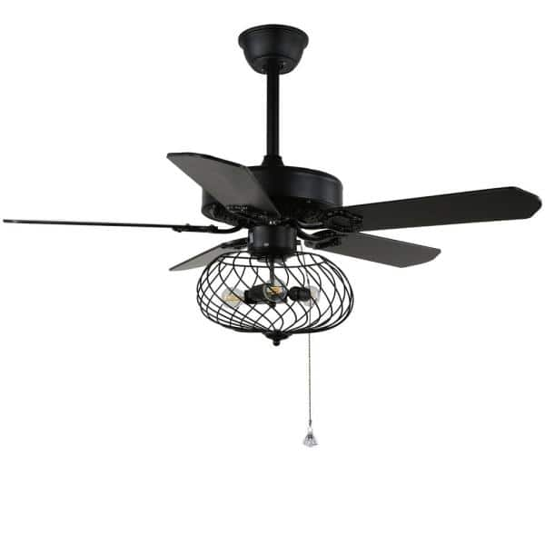 42 In Black Cage Ceiling Fan With Light Kit And Remote Control Bd2028 B 42 The Home Depot