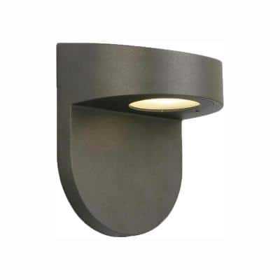 Black Outdoor LED Wall Lantern Sconce with Frosted Glass