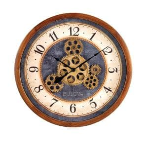 Independent Rotating Gear 12.8 in. Wall Clock with Denim Blue Center Dial