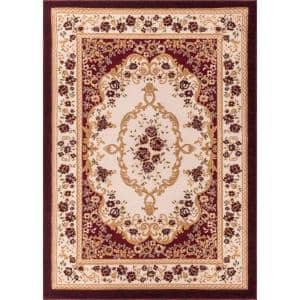 Dulcet Versaille Red 8 ft. x 10 ft. Traditional Medallion Area Rug